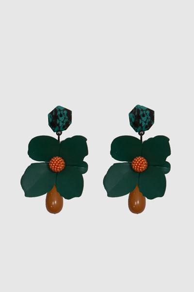 Pendiente-FLOR-metal-verde-largo-boutique-lluna
