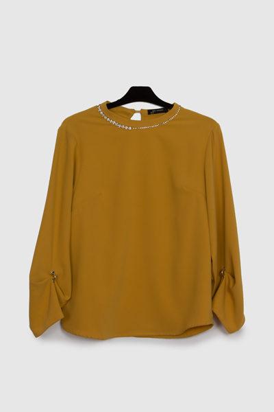 blusa vaporosa-camisa marrón- camisa mujer- lluna